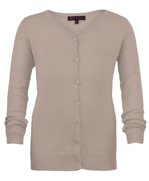 Girls Long Sleeve Fine Knit Cardigan in Navy, Grey Marl and Beige
