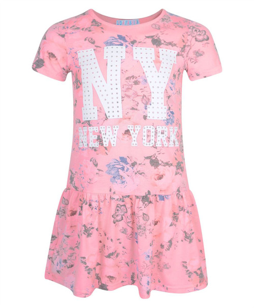Girls Floral Diamante NY Print Dress in Pink