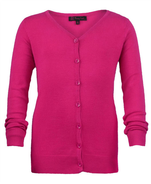 Girls Long Sleeve Fine Knit Cardigan in Cerise, Pink and Black