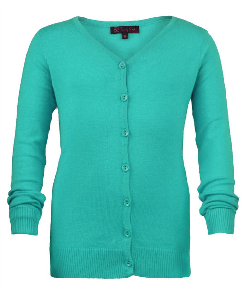 Girls Long Sleeve Fine Knit Cardigan in Aqua, Mint, Cream and Red