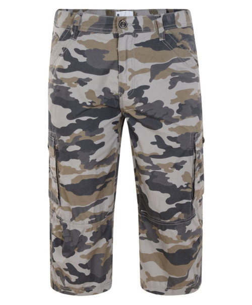 Mens Cargo Shorts in Black and Khaki Grey