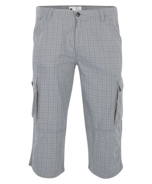 Mens Cargo Shorts in Navy and Checked