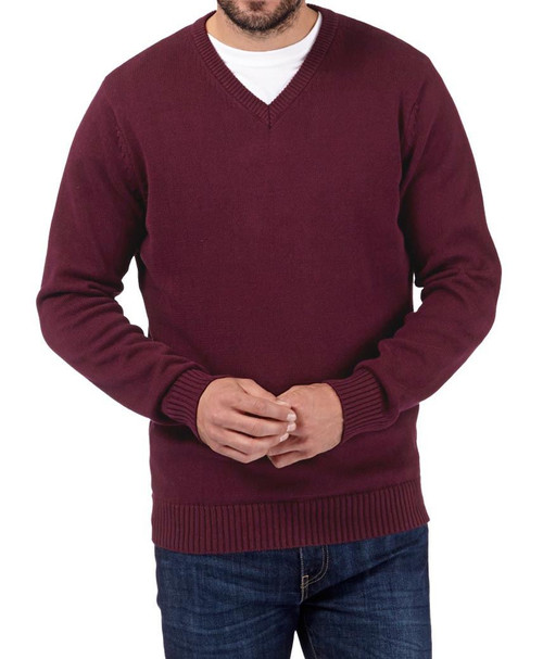 Mens Ex Maine New England Plain V-Neck Jumper in Burgundy and Navy