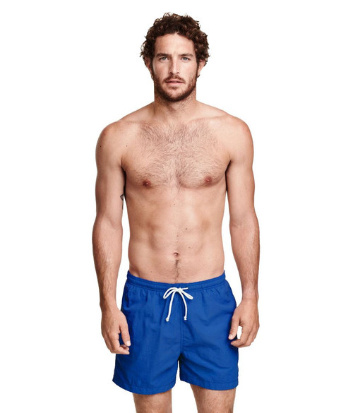 Mens Ex H&M Swimming Shorts in Black and Blue