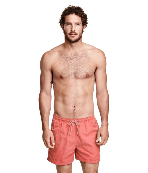 Mens Ex H&M Swimming Shorts in Light Blue and Coral