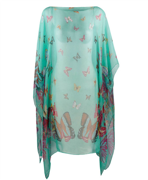 Ladies Buterfly Print Summer Poncho in Grey, Mint and Navy