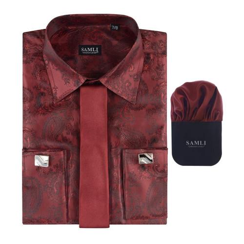 Boxed Samli Paisley Formal Shirt in Cream, Purple and Wine