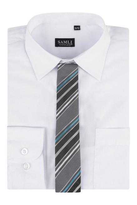 Boxed Shirt And Tie Set Samli in White, Plum and Black