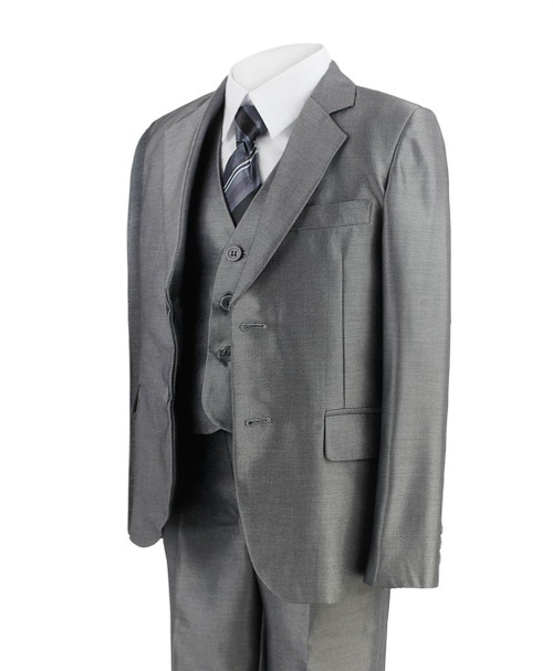 Boys 5 Piece Shiny Suit in Charcoal and Grey