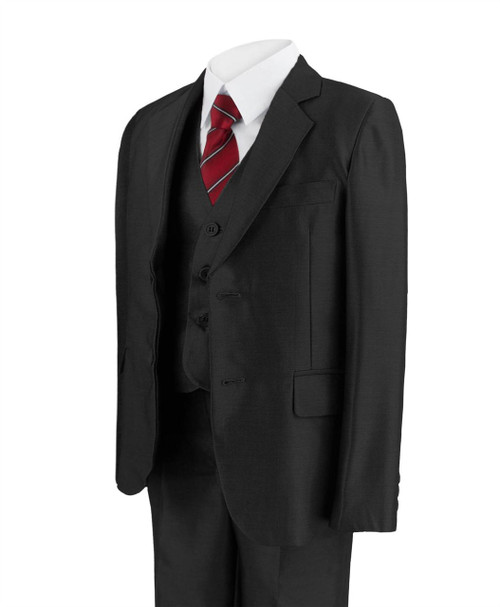 Boys 5 Piece Shiny Suit in Brown and Black