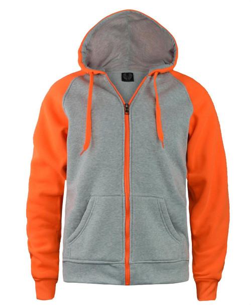 Unisex Contrast Sleeve Jacket in Grey-Neon Orange