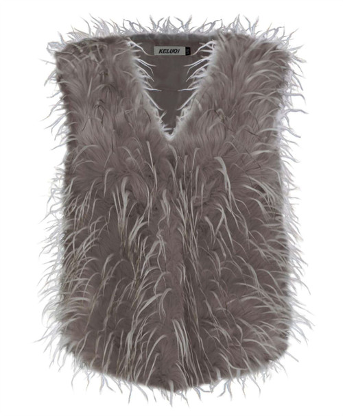 Ladies Faux Fur Feather Gilet in Pink and Mocha