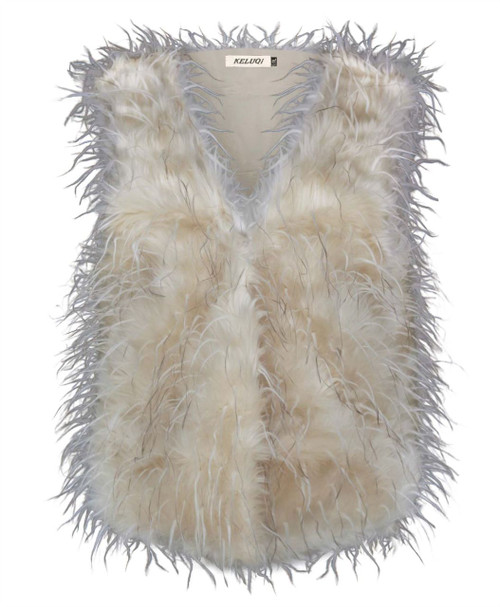 Ladies Faux Fur Feather Gilet in Black, Beige and Cream