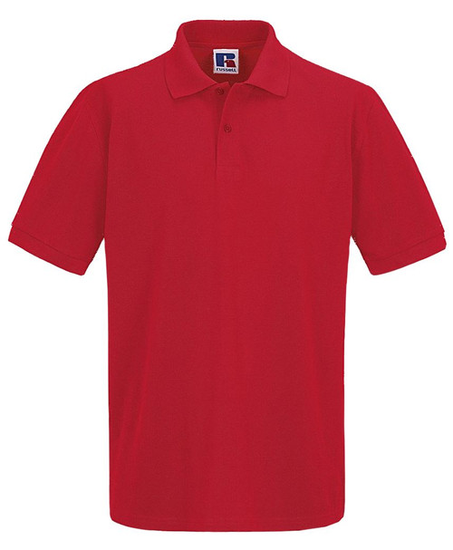 Mens Polo Shirt By Russell in Black, White, Red and Blue