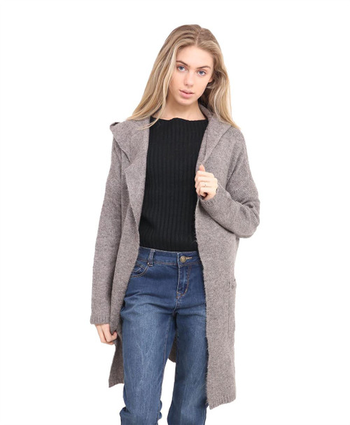 Women Knitted Hooded Jumper in Taupe