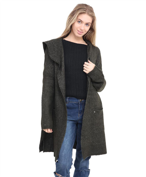 Women Knitted Hooded Jumper in Olive