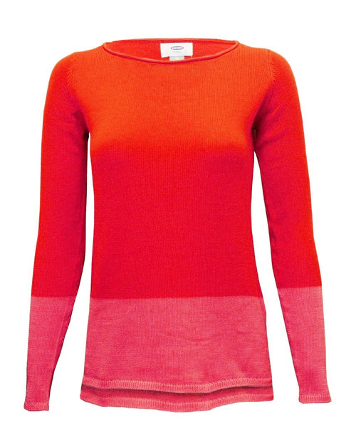 Women Plain Knitted Sweater in Burgundy, Orange-Pink and Mint
