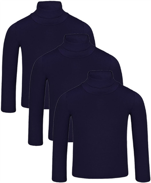 Kids Basic Turtleneck Top Bundle (pack of 3) in Navy, Orange and Neon Yellow