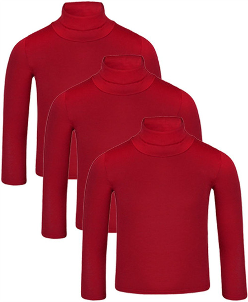 Kids Basic Turtleneck Top Bundle (pack of 3) in Black, White and Red