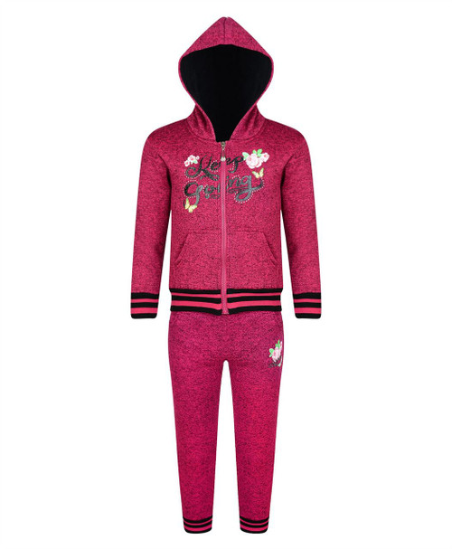 Girls Keep Going Print Tracksuit in Cerise