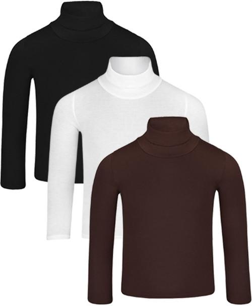 Kids Top Bundle (pack of 3) in Black-White-Brown and Navy-Red-Brown