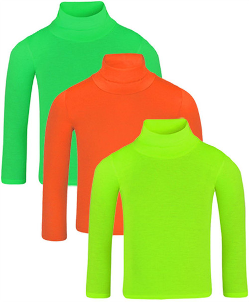 Kids Top Bundle (pack of 3) in Green-Orange-Neon-Yellow and Mocha-Red-Brown