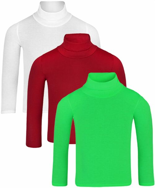Kids Top Bundle (pack of 3) in White-Red-Green and Navy-Orange-Neon-Yellow