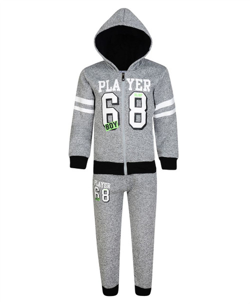 Boys Player 68 Print Tracksuit in Grey Marl