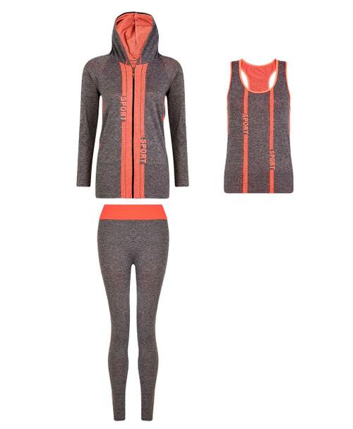 Ladies Vest, Hoodie and Leggings Set in Neon Orange
