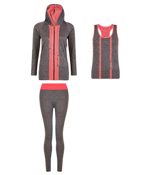 Ladies Vest, Hoodie and Leggings Set in Neon Coral