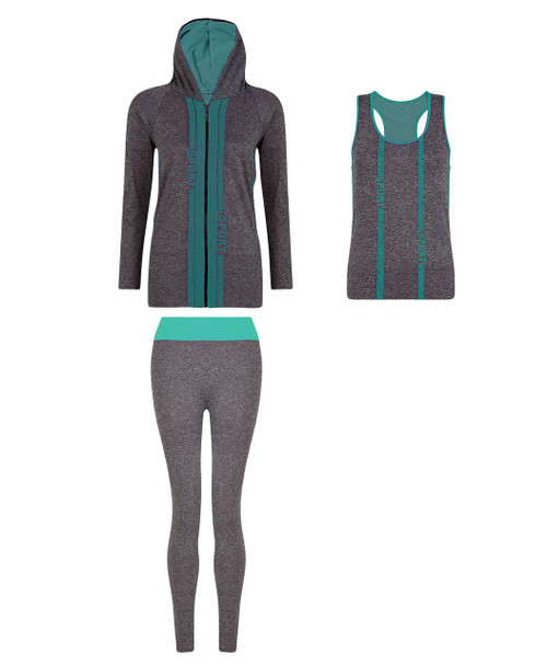 Ladies Vest, Hoodie and Leggings Set in Mint