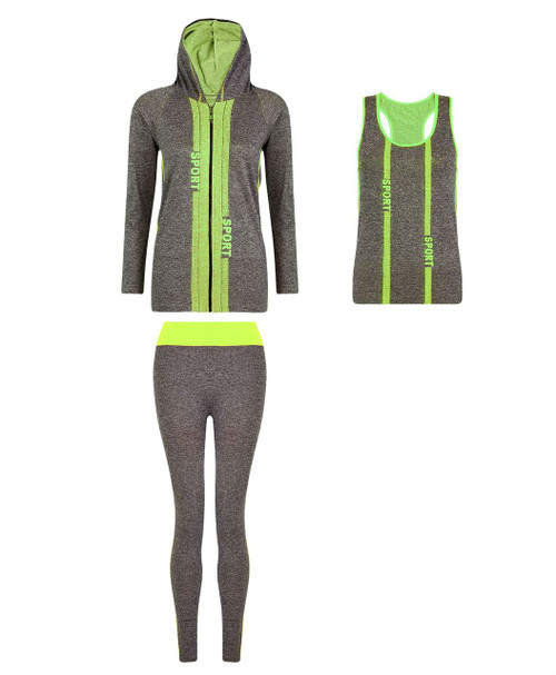 Ladies Vest, Hoodie and Leggings Set in Neon Yellow