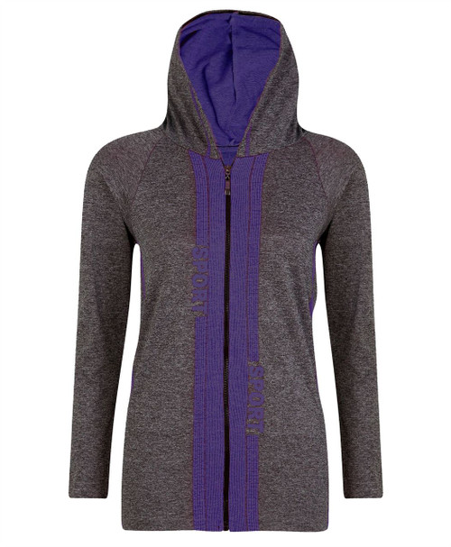 Ladies Hooded Top Jacket in Black and Blue