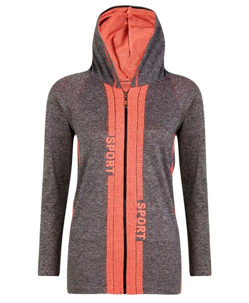 Ladies Hooded Top Jacket in Neon Orange and Neon Coral