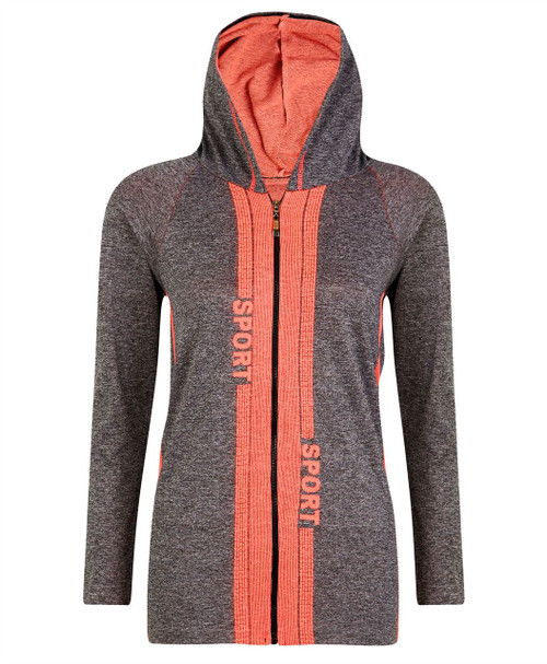 Ladies Hooded Top Jacket in Neon Orange and Neon Coral