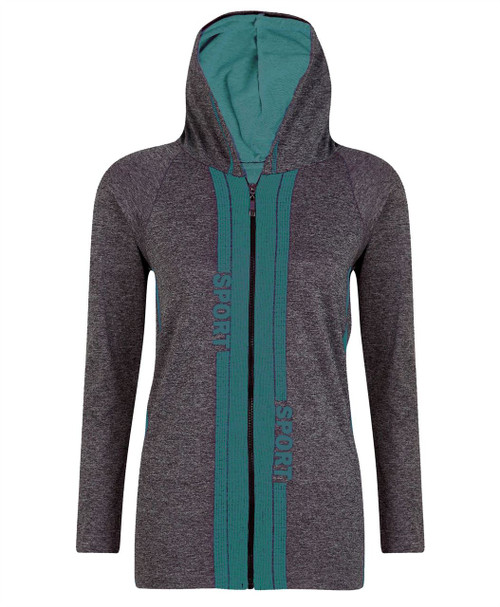 Ladies Hooded Top Jacket in Mint and Neon Yellow