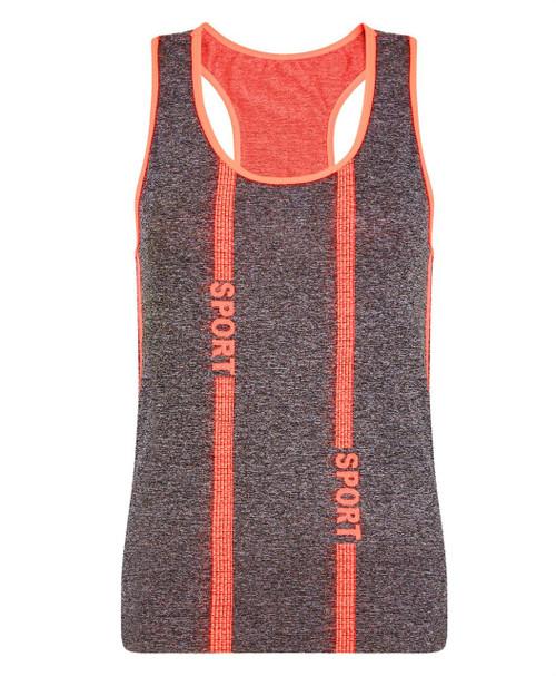 Ladies Tank Vest Top in Black, Blue and Neon Orange