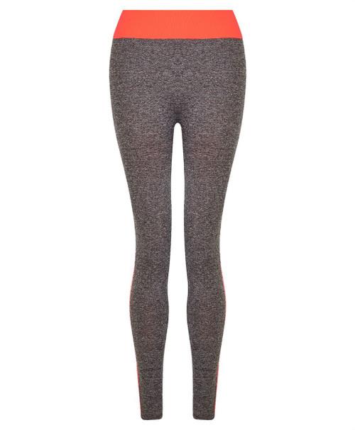 Ladies Full Length Leggings in Neon Orange and Neon Coral