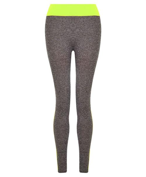 Ladies Full Length Leggings in Mint and Neon Yellow