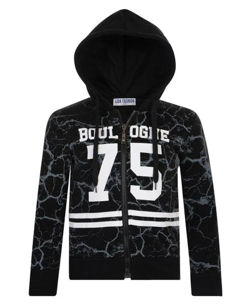 Kids Boulogne 75 print Hoodie in Black