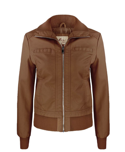 Ladies Faux Leather Jacket in Brown