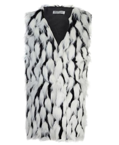 Ladies Faux Fur Gilet in Black-Cream