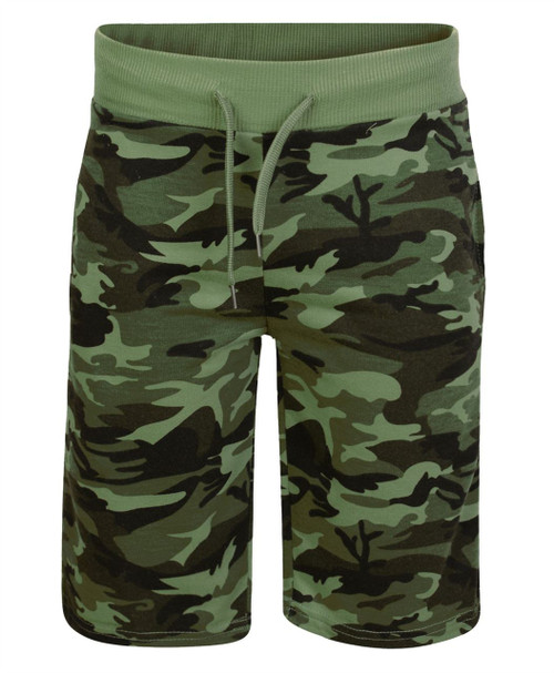 Boys Camouflage Shorts in Camo Khaki