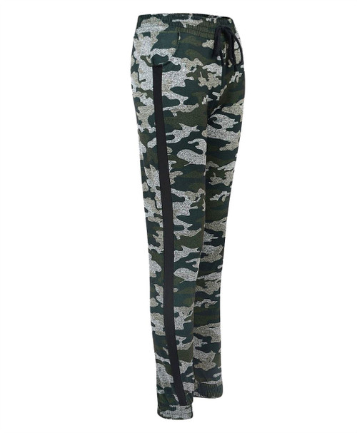 Ladies Camouflage Tracksuit Trousers in Camo Green