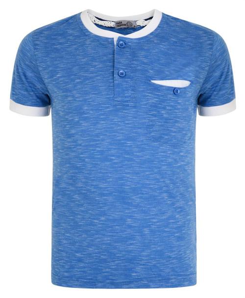 Boys Henley T-shirt With Pocket in Blue, Dark Blue, Grey Marl