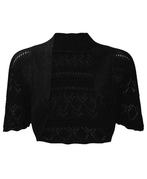 Crochet Knitted Bolero Shrug In Black