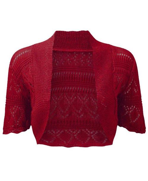 Crochet Knitted Bolero Shrug In Red