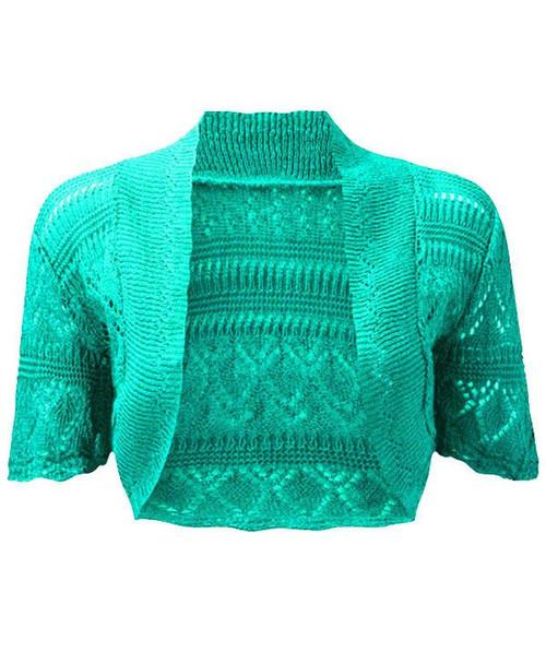 Crochet Knitted Bolero Shrug In Mint