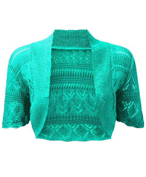 Crochet Knitted Bolero Shrug In Mint