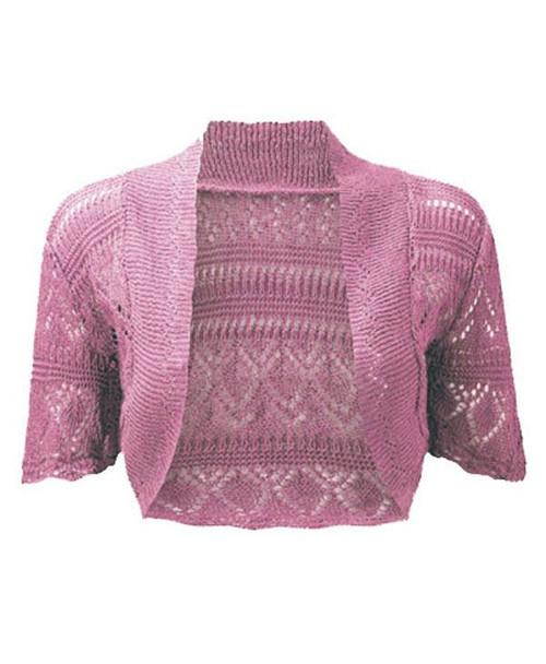 Crochet Knitted Bolero Shrug In Pink